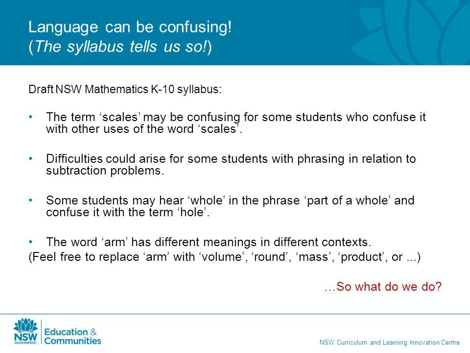 Language can be confusing! (The syllabus tells us so!)