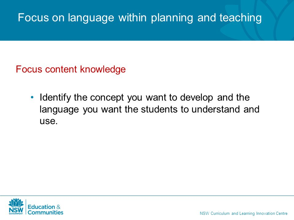 Focus on language within planning and teaching