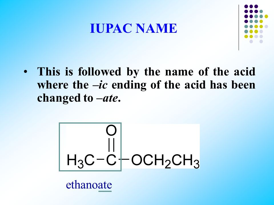 IUPAC NAME This is followed by the name of the acid where the –ic ending of the acid has been changed to –ate.
