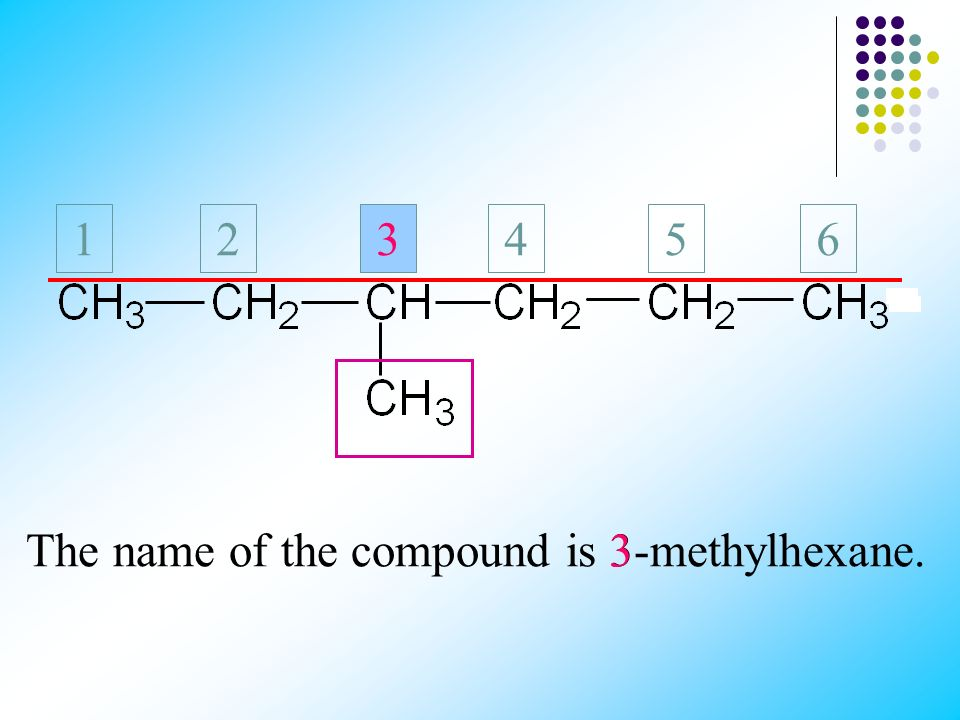 The name of the compound is 3-methylhexane.