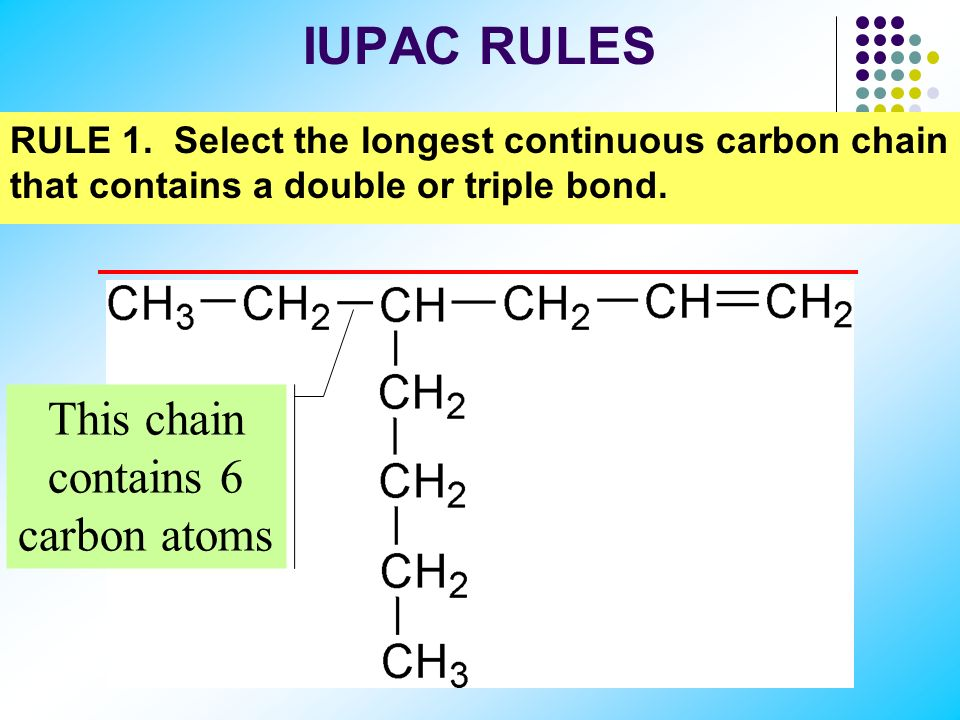 This chain contains 6 carbon atoms