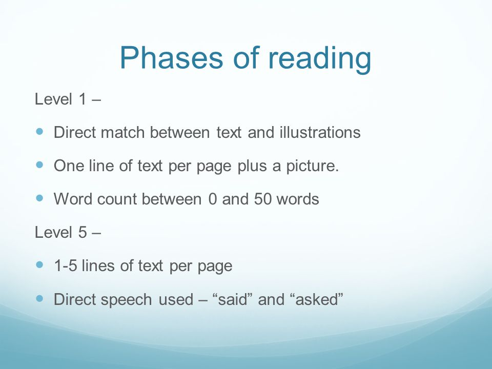 Phases of reading Level 1 –