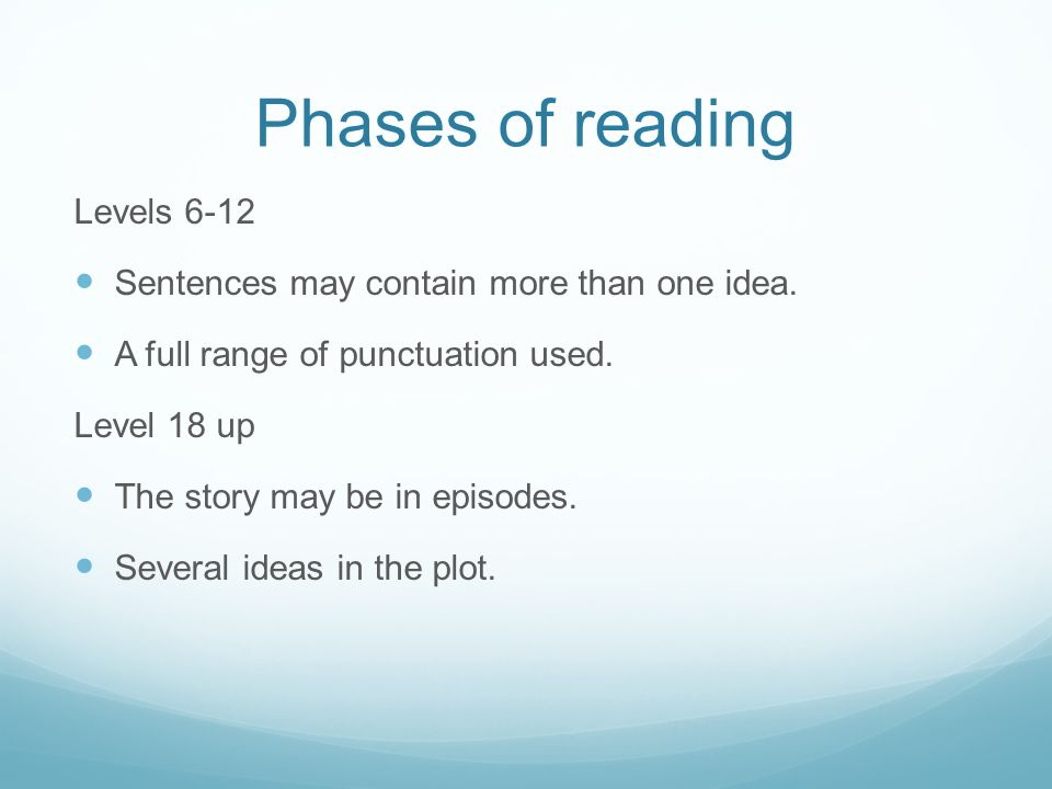 Phases of reading Levels 6-12