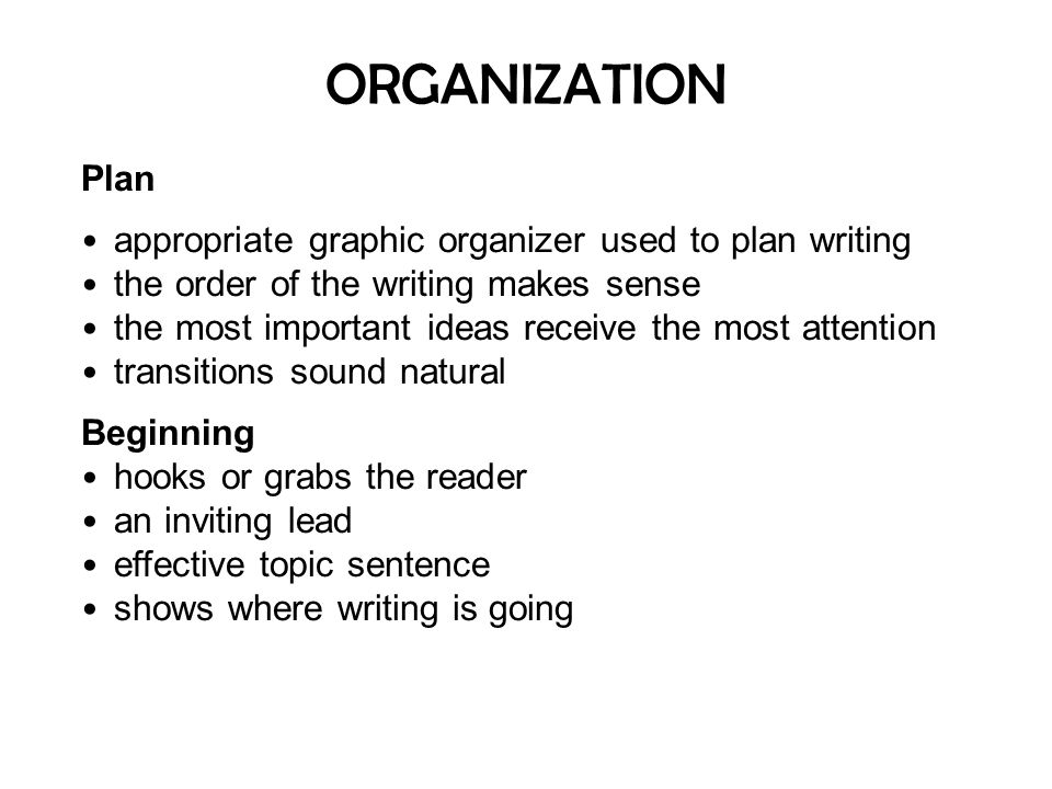 ORGANIZATION Plan appropriate graphic organizer used to plan writing