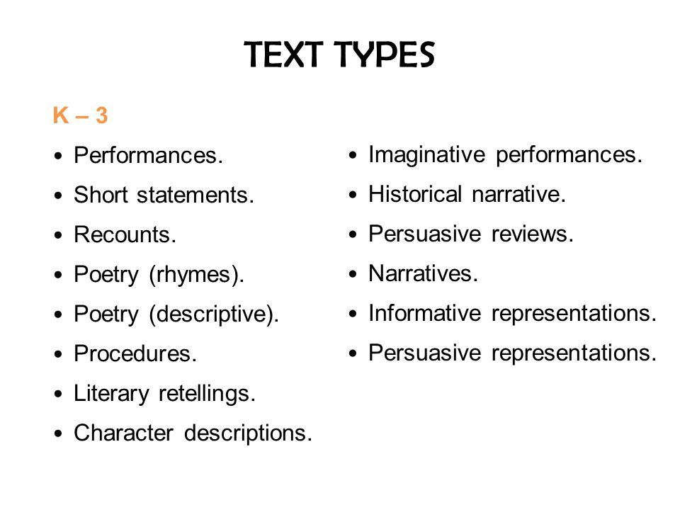 TEXT TYPES K – 3 Imaginative performances. Performances.