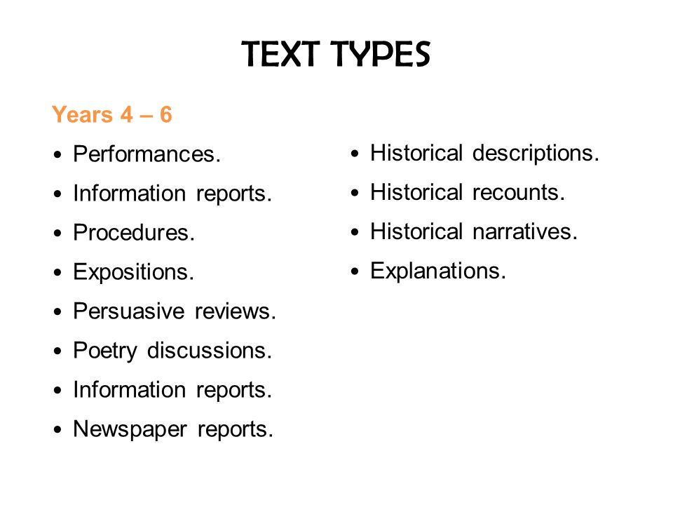 TEXT TYPES Years 4 – 6 Performances. Historical descriptions.