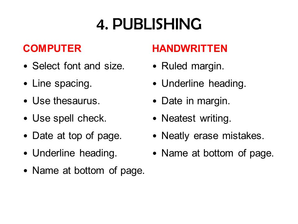 4. PUBLISHING COMPUTER HANDWRITTEN Select font and size. Ruled margin.