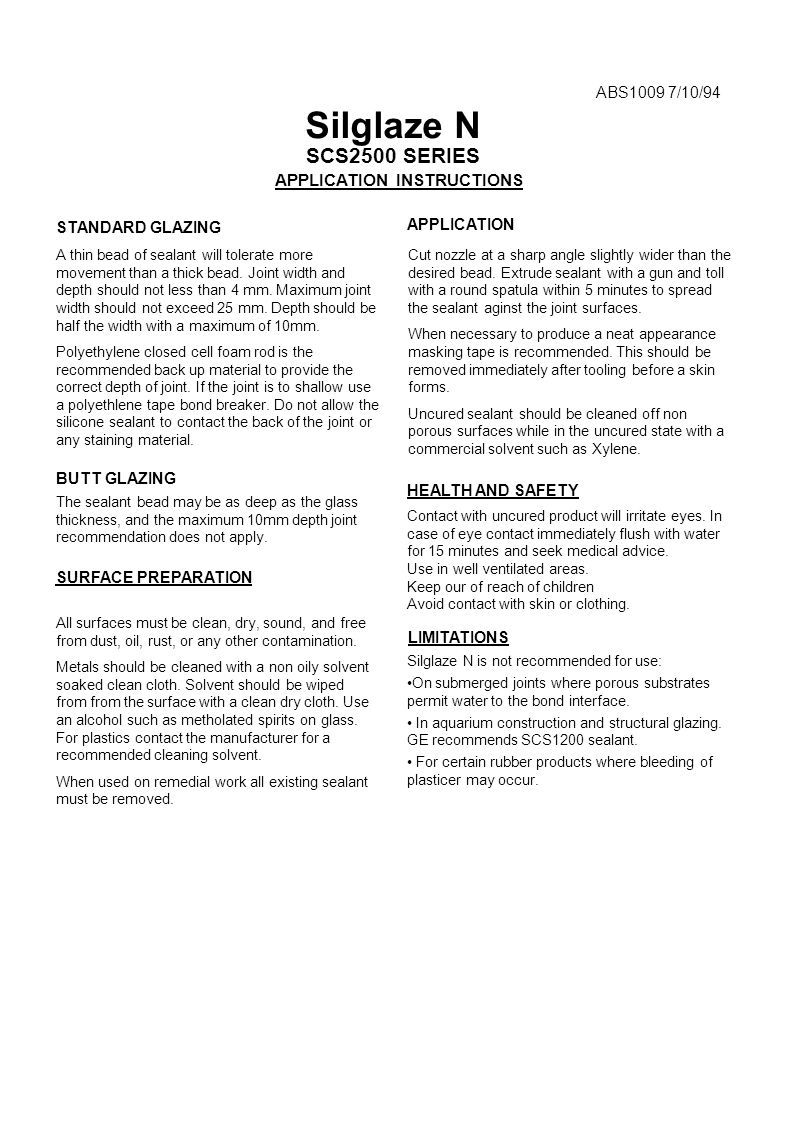Silglaze N SCS2500 SERIES APPLICATION INSTRUCTIONS ABS1009 7/10/94