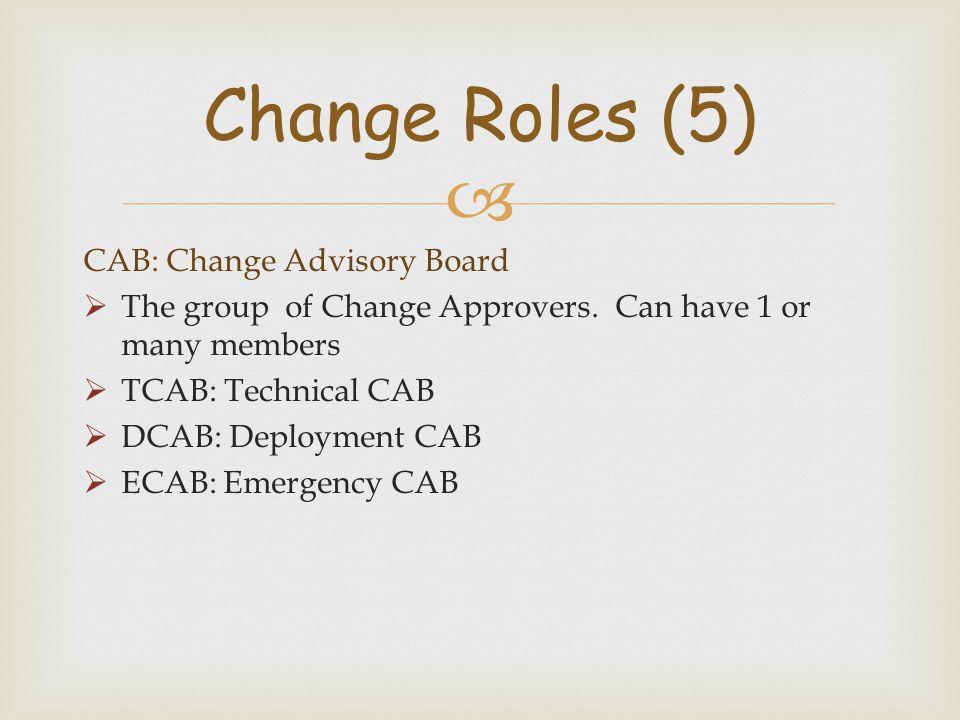 Change Roles (5) CAB: Change Advisory Board