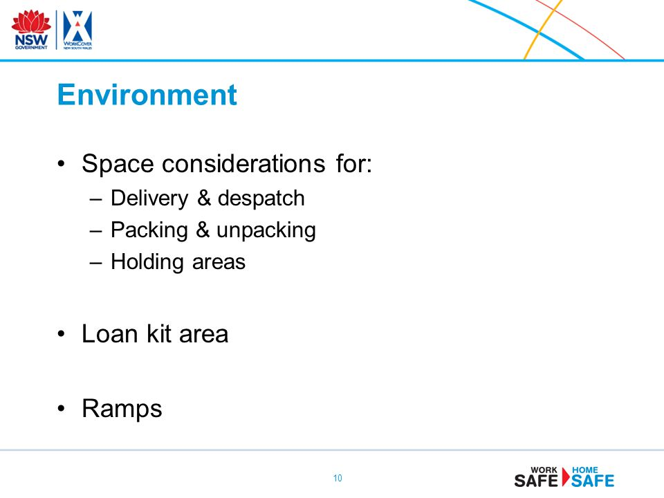Environment Space considerations for: Loan kit area Ramps