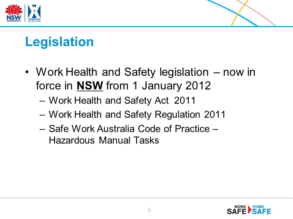 Legislation Work Health and Safety legislation – now in force in NSW from 1 January 2012. Work Health and Safety Act 2011.