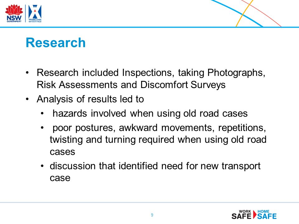 Research Research included Inspections, taking Photographs, Risk Assessments and Discomfort Surveys.