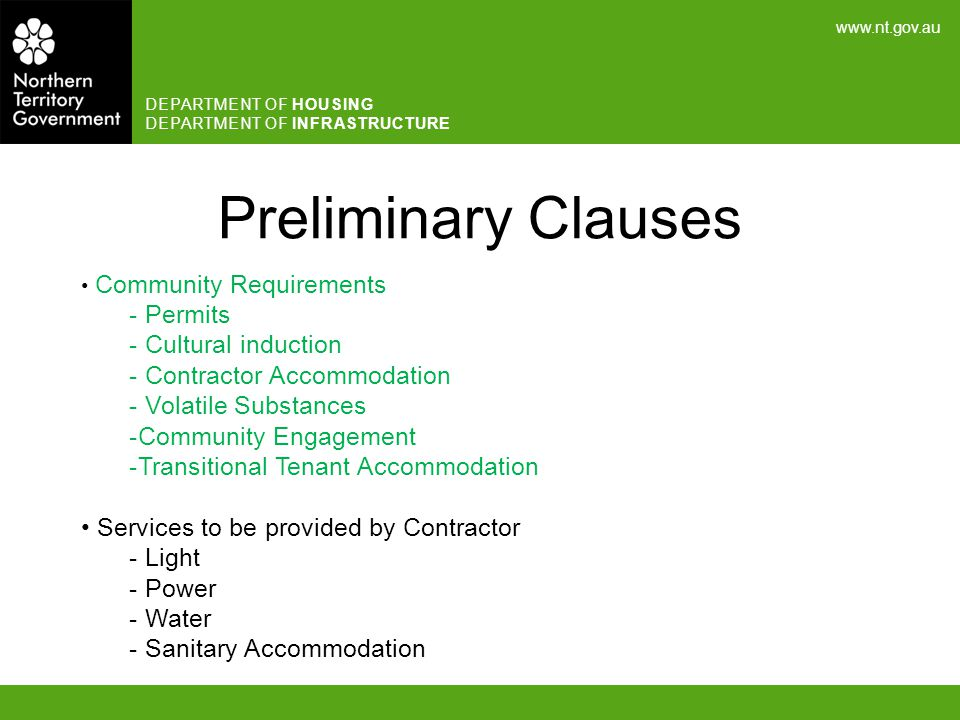 Preliminary Clauses Permits Cultural induction