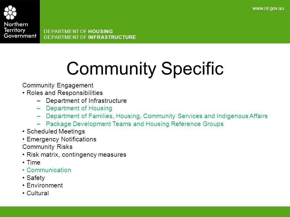 Community Specific Community Engagement Roles and Responsibilities