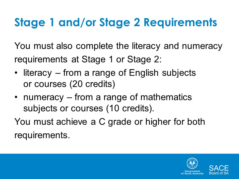 Stage 1 and/or Stage 2 Requirements