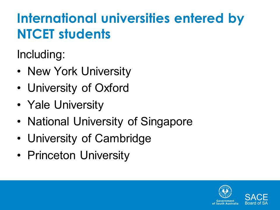 International universities entered by NTCET students