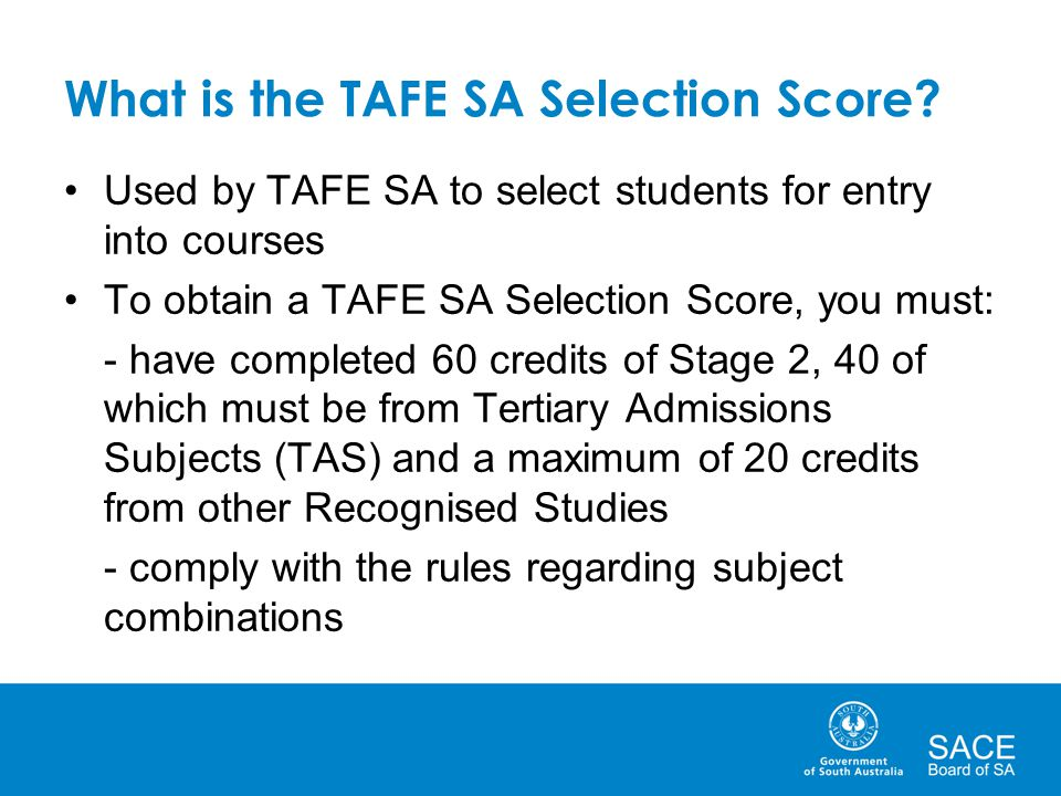 What is the TAFE SA Selection Score