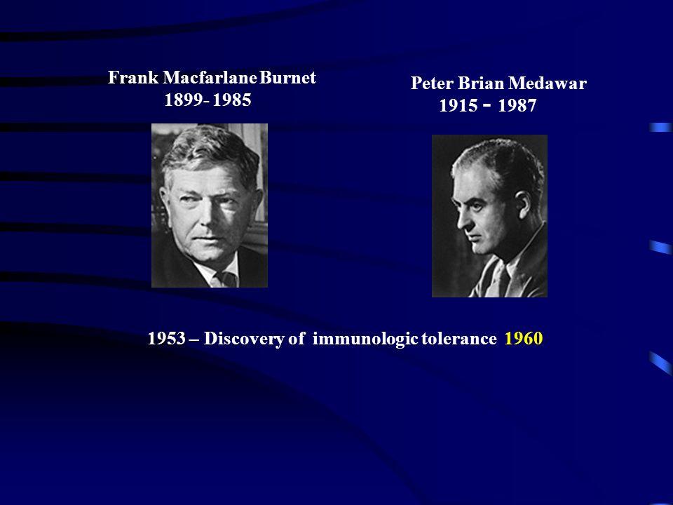 Frank Macfarlane Burnet 1899- 1985 Peter Brian Medawar 1915 - 1987