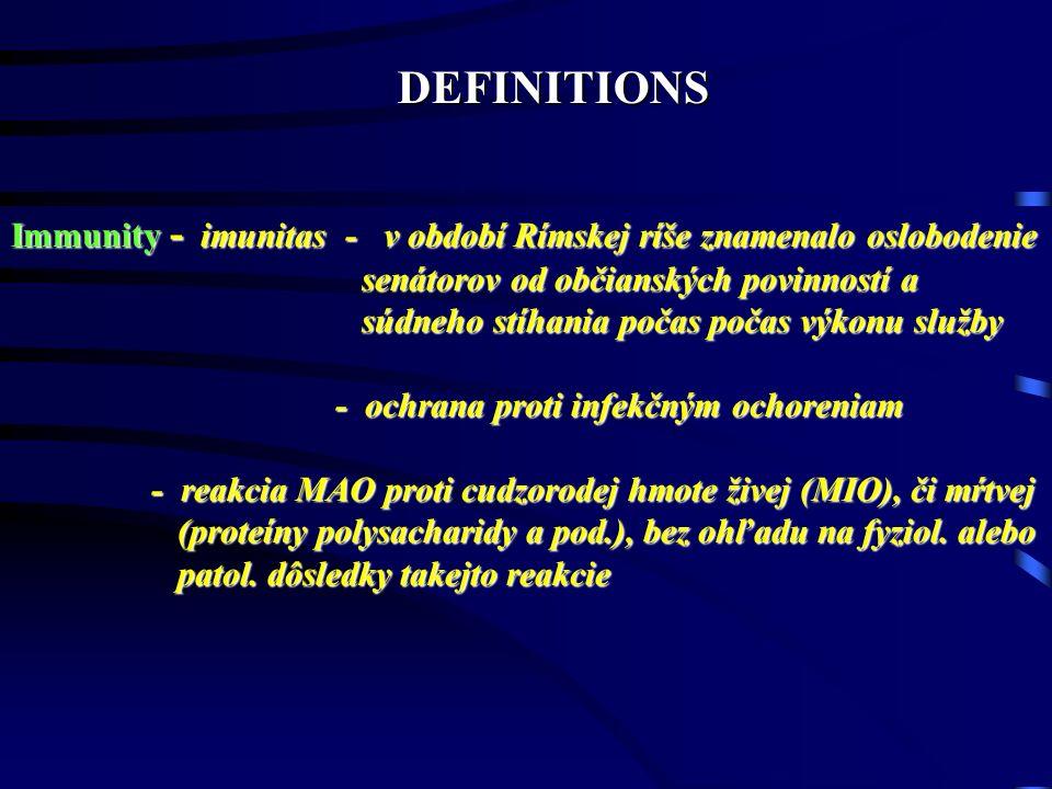 DEFINITIONS Immunity - imunitas - v období Rímskej ríše znamenalo oslobodenie. senátorov od občianských povinností a.
