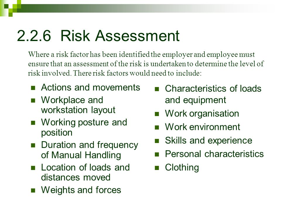 2.2.6 Risk Assessment Actions and movements