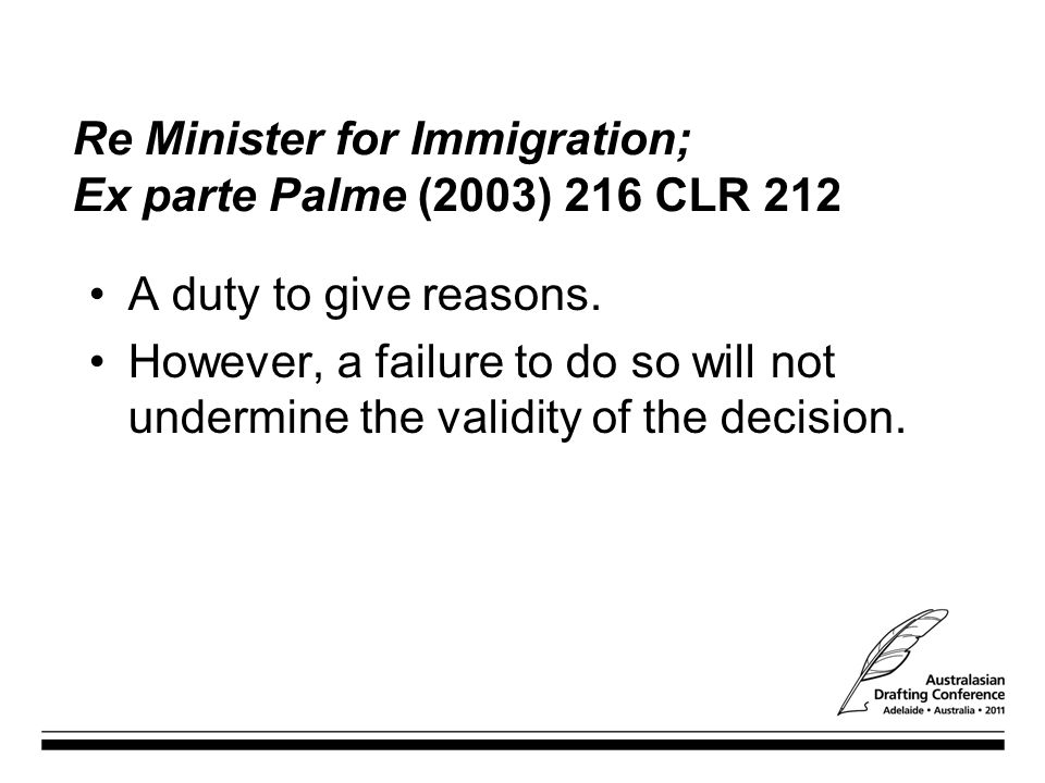 Re Minister for Immigration; Ex parte Palme (2003) 216 CLR 212