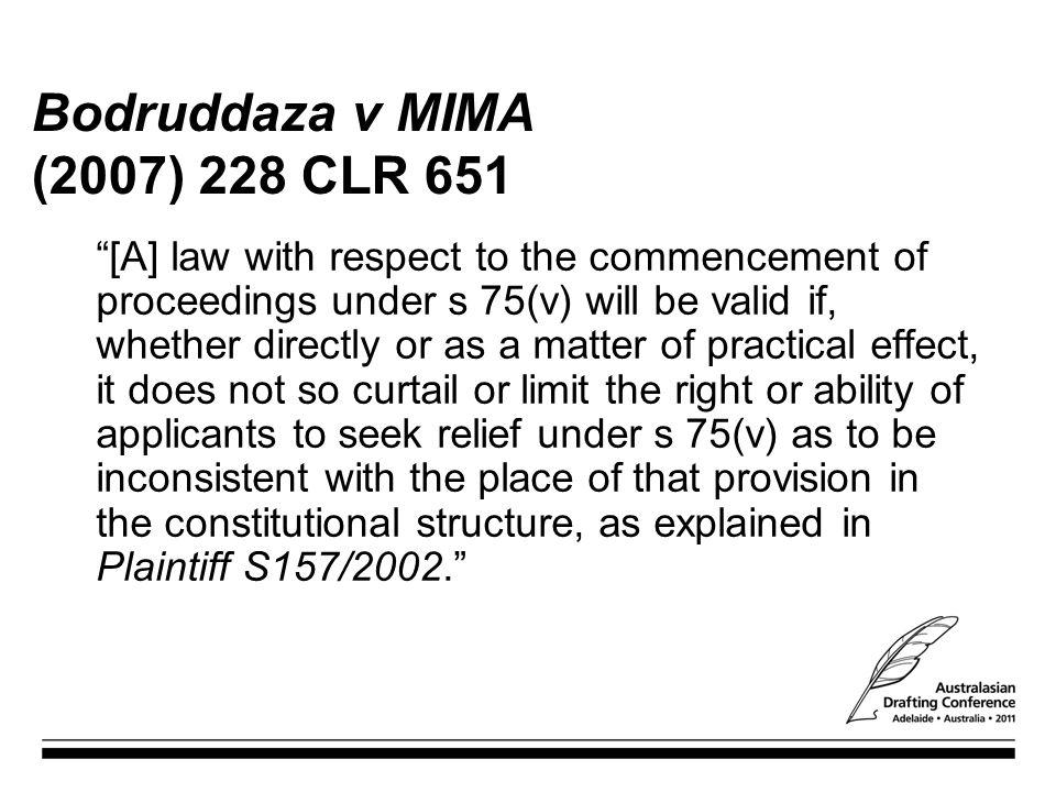 Bodruddaza v MIMA (2007) 228 CLR 651