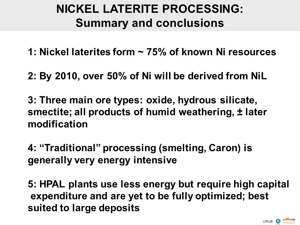 NICKEL LATERITE PROCESSING: Summary and conclusions