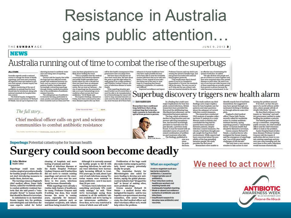 Resistance in Australia gains public attention…