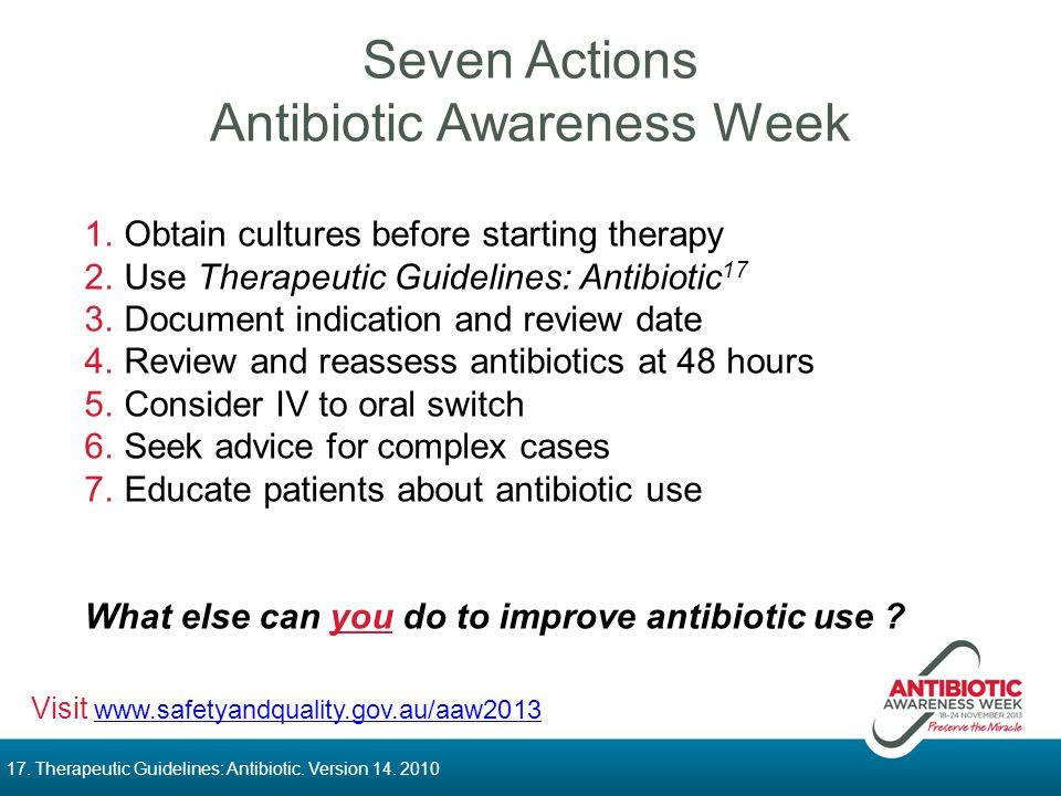 Seven Actions Antibiotic Awareness Week