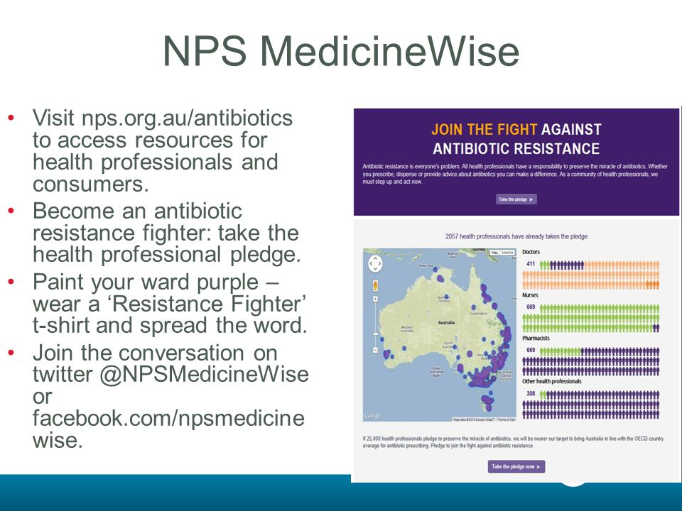 NPS MedicineWise Visit nps.org.au/antibiotics to access resources for health professionals and consumers.