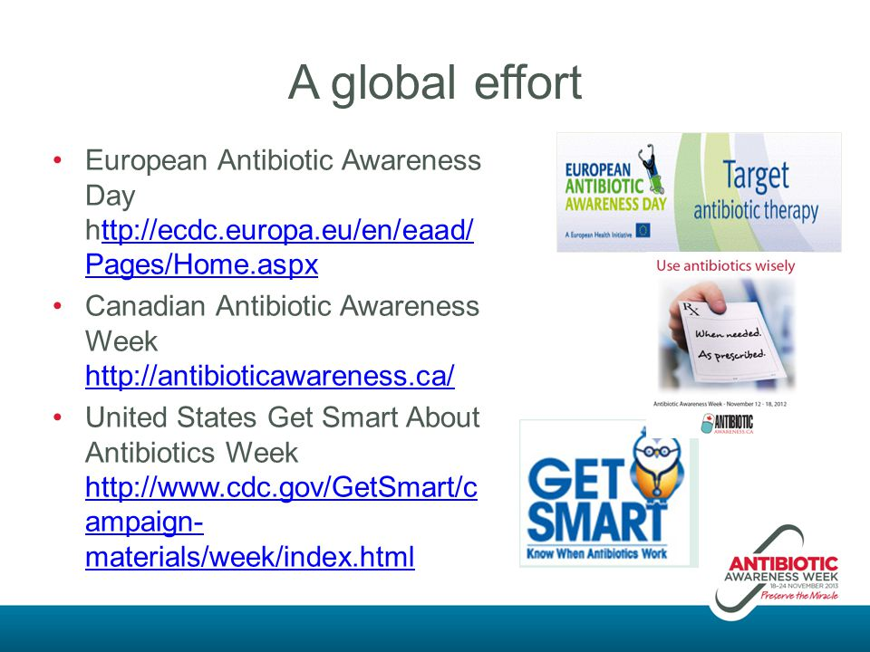 A global effort European Antibiotic Awareness Day http://ecdc.europa.eu/en/eaad/Pages/Home.aspx.