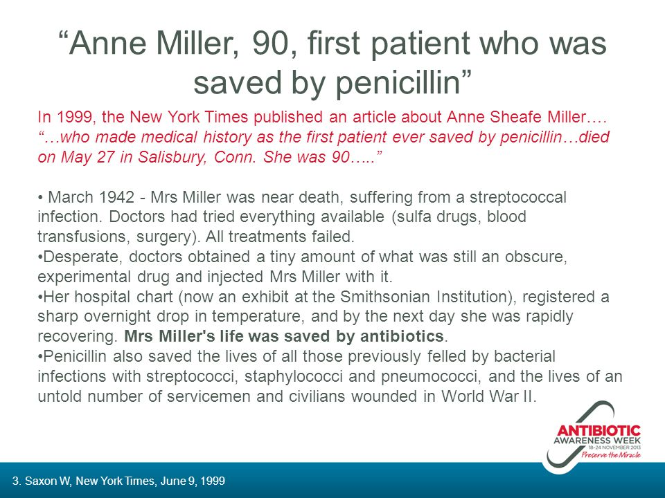 Anne Miller, 90, first patient who was saved by penicillin