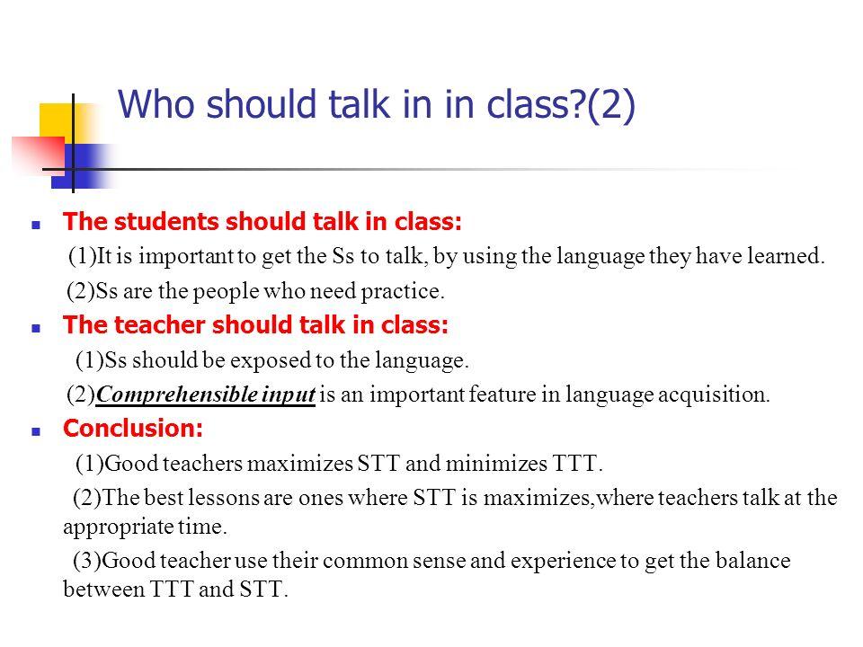 Who should talk in in class (2)