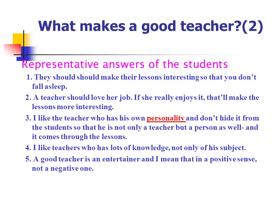 What makes a good teacher (2)