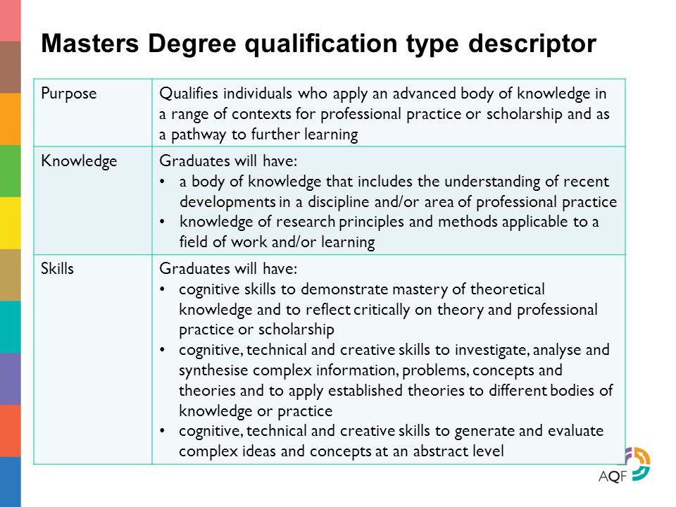 Masters Degree qualification type descriptor