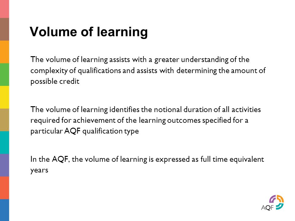 Volume of learning