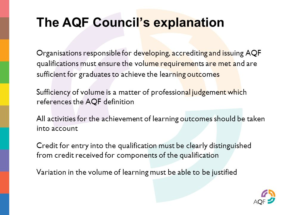 The AQF Council's explanation