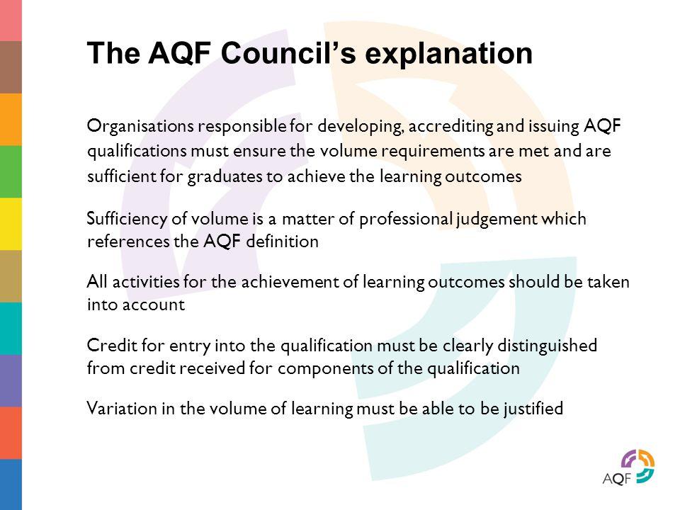 The AQF Council's explanation