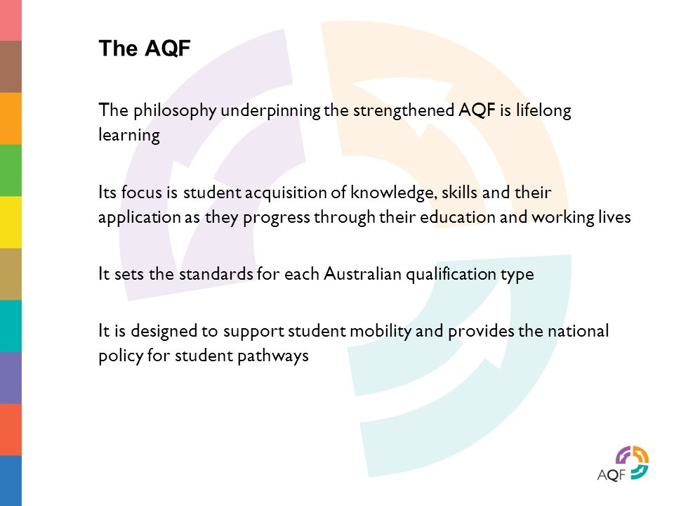 It sets the standards for each Australian qualification type