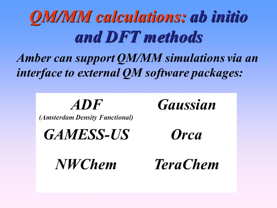 QM/MM calculations: ab initio and DFT methods