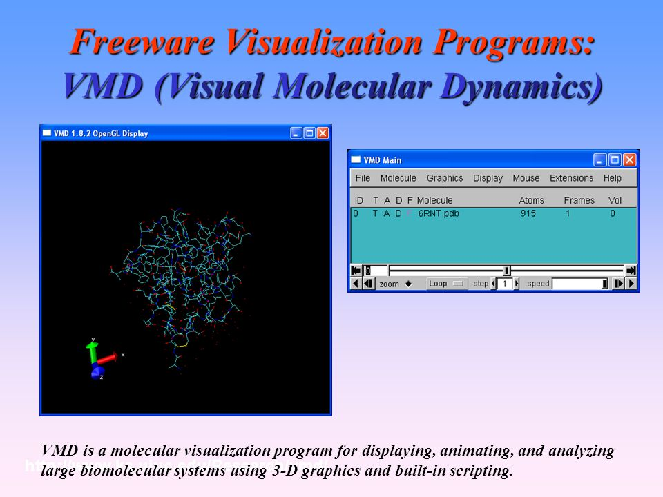 Freeware Visualization Programs: VMD (Visual Molecular Dynamics)
