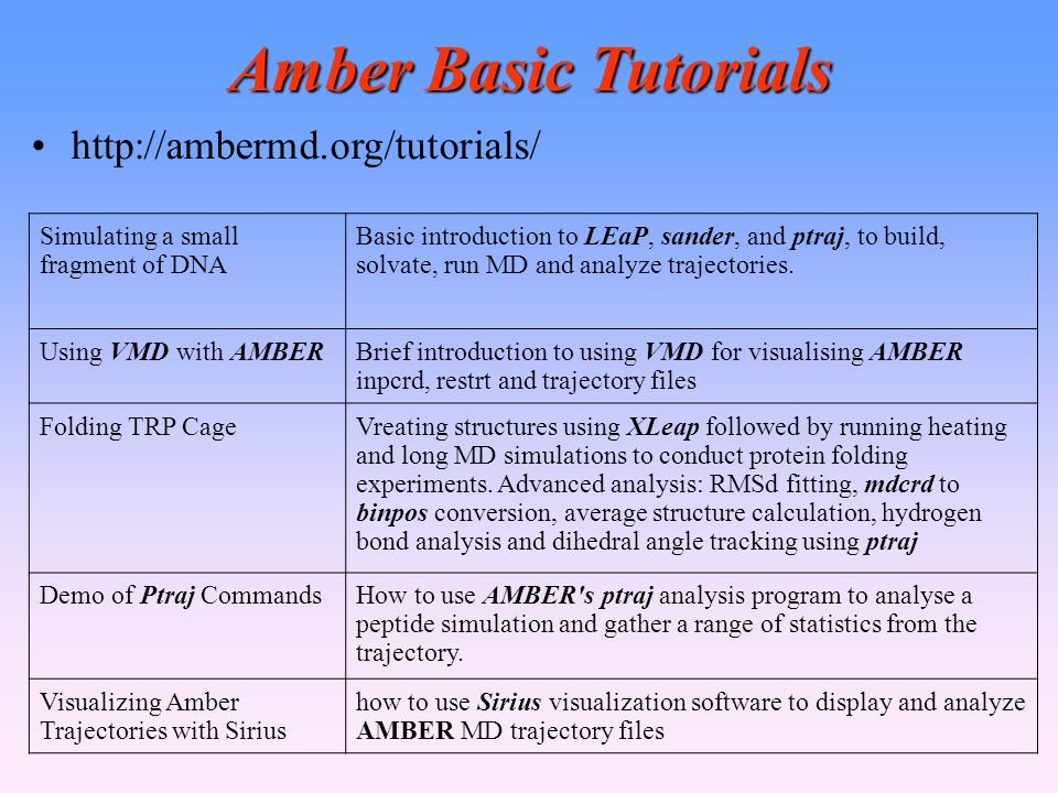Amber Basic Tutorials http://ambermd.org/tutorials/