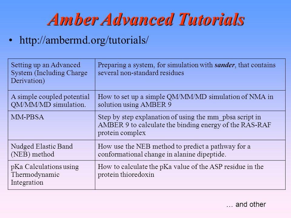 Amber Advanced Tutorials