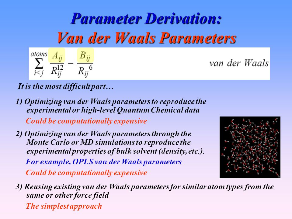 Parameter Derivation: Van der Waals Parameters