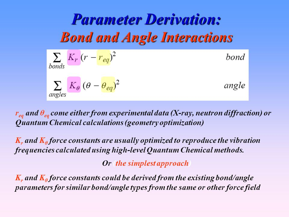 Parameter Derivation: Bond and Angle Interactions