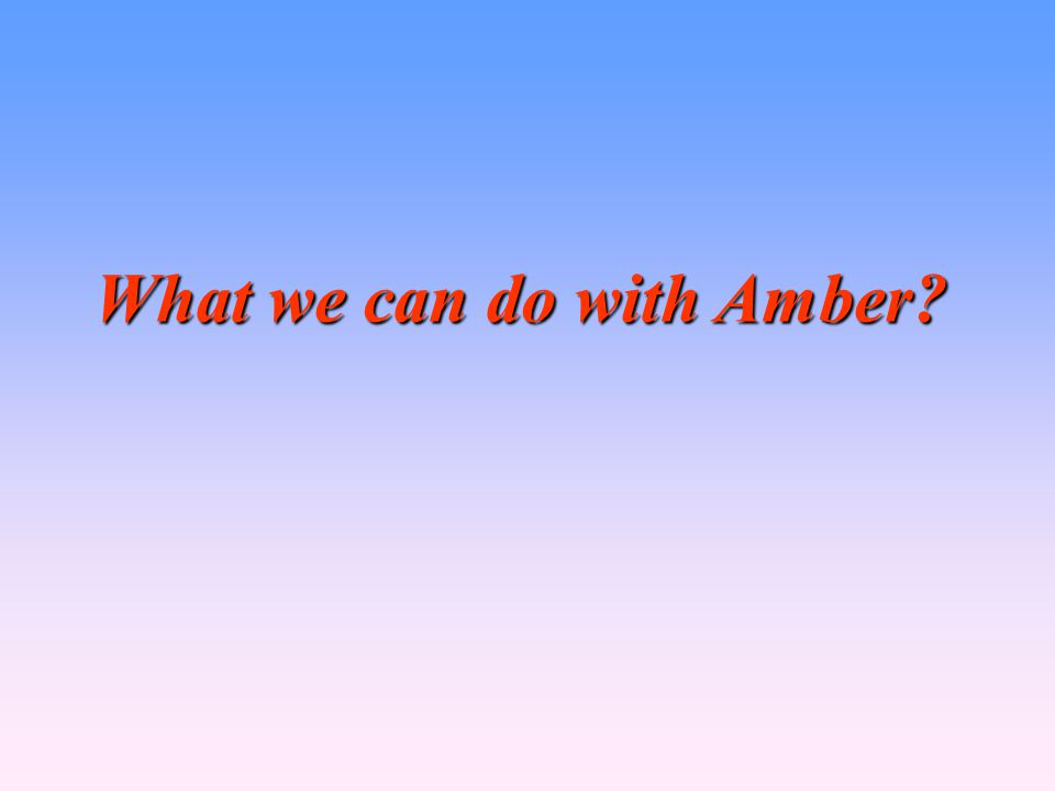 What we can do with Amber