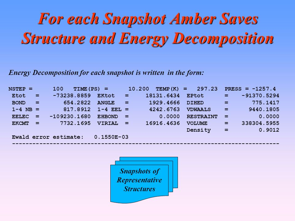 For each Snapshot Amber Saves Structure and Energy Decomposition