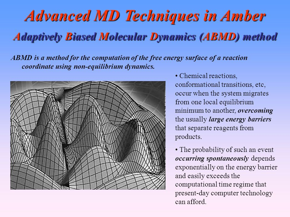 Advanced MD Techniques in Amber Adaptively Biased Molecular Dynamics (ABMD) method