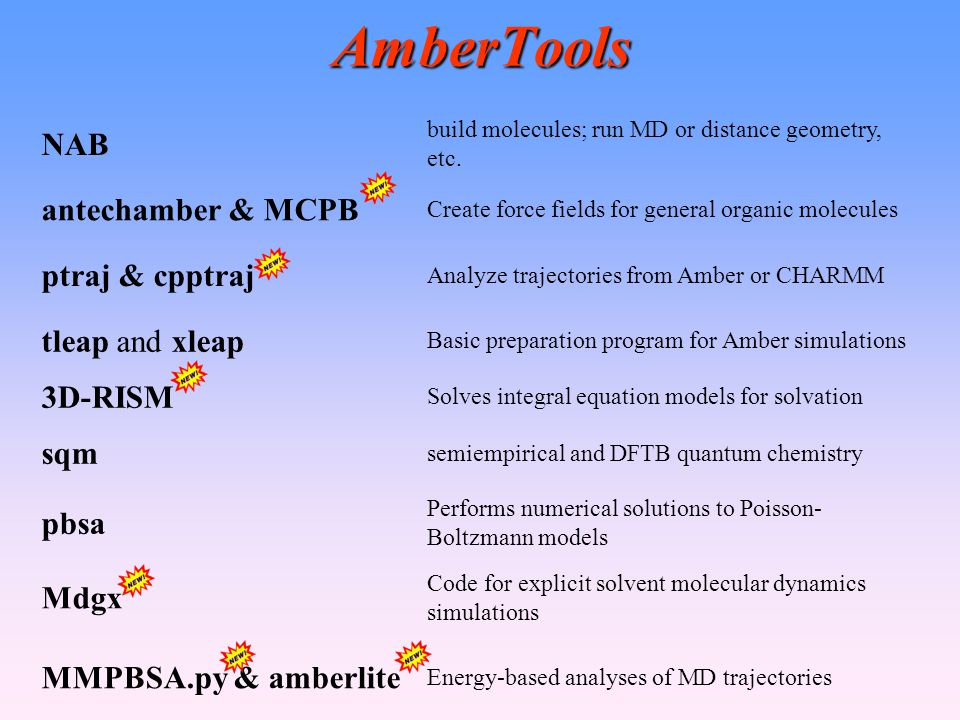 AmberTools NAB antechamber & MCPB ptraj & cpptraj tleap and xleap