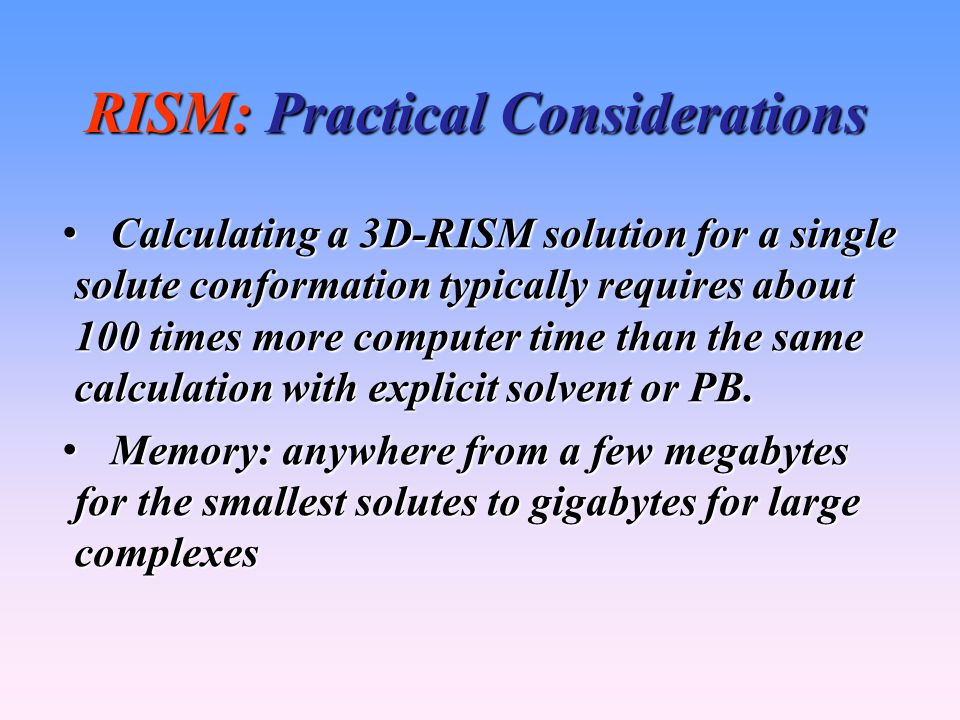 RISM: Practical Considerations